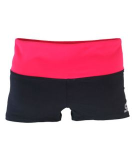 Supplex Shorts with Contrast Band-Black/Pyscho Red-2XS