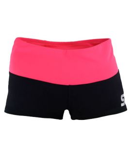 Supplex Shorts with Contrast Band (Kids)-Black/Living Coral-C2