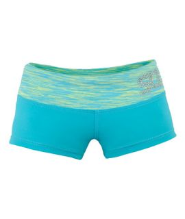 Supplex Shorts with Contrast Band (Kids)-Martinica/Electric Lime-C2