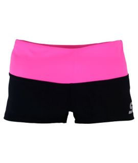 Supplex Shorts with Contrast Band-Black/Shocking Pink-2XS