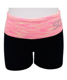 Supplex Bike Pants with Contrast Band (Kids)-C6-Living Coral